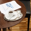 Coffee break business table with reports charts — Stock Photo