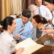 Stock Photo: Business lunch waitress take order meal restaurant