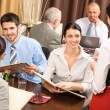 Business lunch waitress take order meal restaurant — Stock Photo