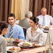 Business lunch restaurant eating meal - Stock Photo