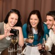 Happy having fun drink at restaurant — Stock Photo