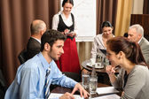 Businesspeople conference room waitress take order — Stock Photo