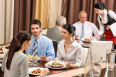 Business lunch restaurant eating meal — Stok fotoğraf