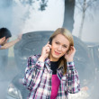 Car breakdown woman call for help - Stock Photo
