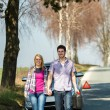Stock Photo: Out of gas couple need petrol car