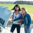 Stock Photo: Car breakdown two women looking under hood