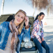 Car defect two women wait for help — Stock Photo #10234850