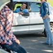 Stock Photo: Car troubles friends need help