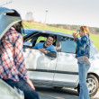 Car troubles girlfriends need help - Foto Stock