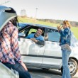 Car troubles girlfriends need help — Stock Photo #10234972