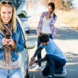 Puncture wheel man helping two female friends - Stock Photo