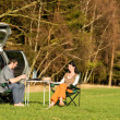 Camping car young couple enjoy picnic countryside — Stock Photo
