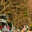 Camping car young couple relax picnic countryside — Stock Photo #10235275