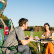 Camping car young couple enjoy picnic countryside — Stock Photo #10235314