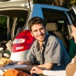 Camping car young couple enjoy picnic countryside — Stock Photo #10235353