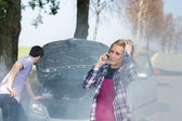Car breakdown woman call for help — Stock Photo