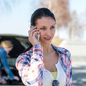 Car problem woman call road help — Stock Photo