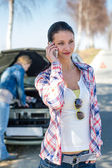 Car problem woman call road help — Stok fotoğraf