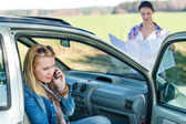 Lost with car two women call help — Stock Photo