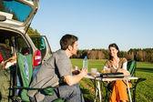 Camping car young couple enjoy picnic countryside — Stock Photo