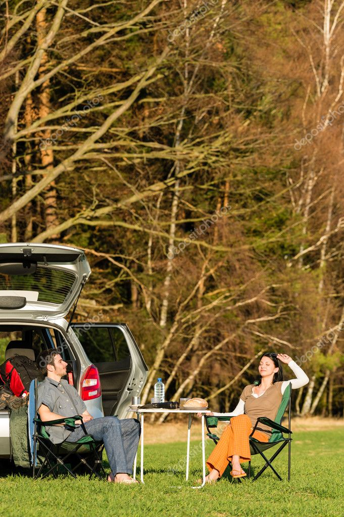 Camping car happy couple enjoy sun relax picnic in countryside  Stock Photo #10235275