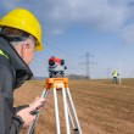 Geodesist measure land speak transmitter — Stock Photo