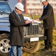 Architect man make notes on construction site — Stock Photo #10515334