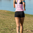 Fitness Female Running Outdoors - Stock Photo