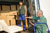 Two mover load van with furniture boxes — Stok fotoğraf