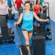Group gym class walk treadmill running deck — Stock Photo