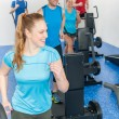 Stock Photo: Fitness treadmill woman enjoy group class