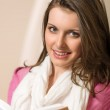 Beautiful young woman student hold book — Stock Photo
