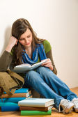 Student teenager girl read book — Stock Photo