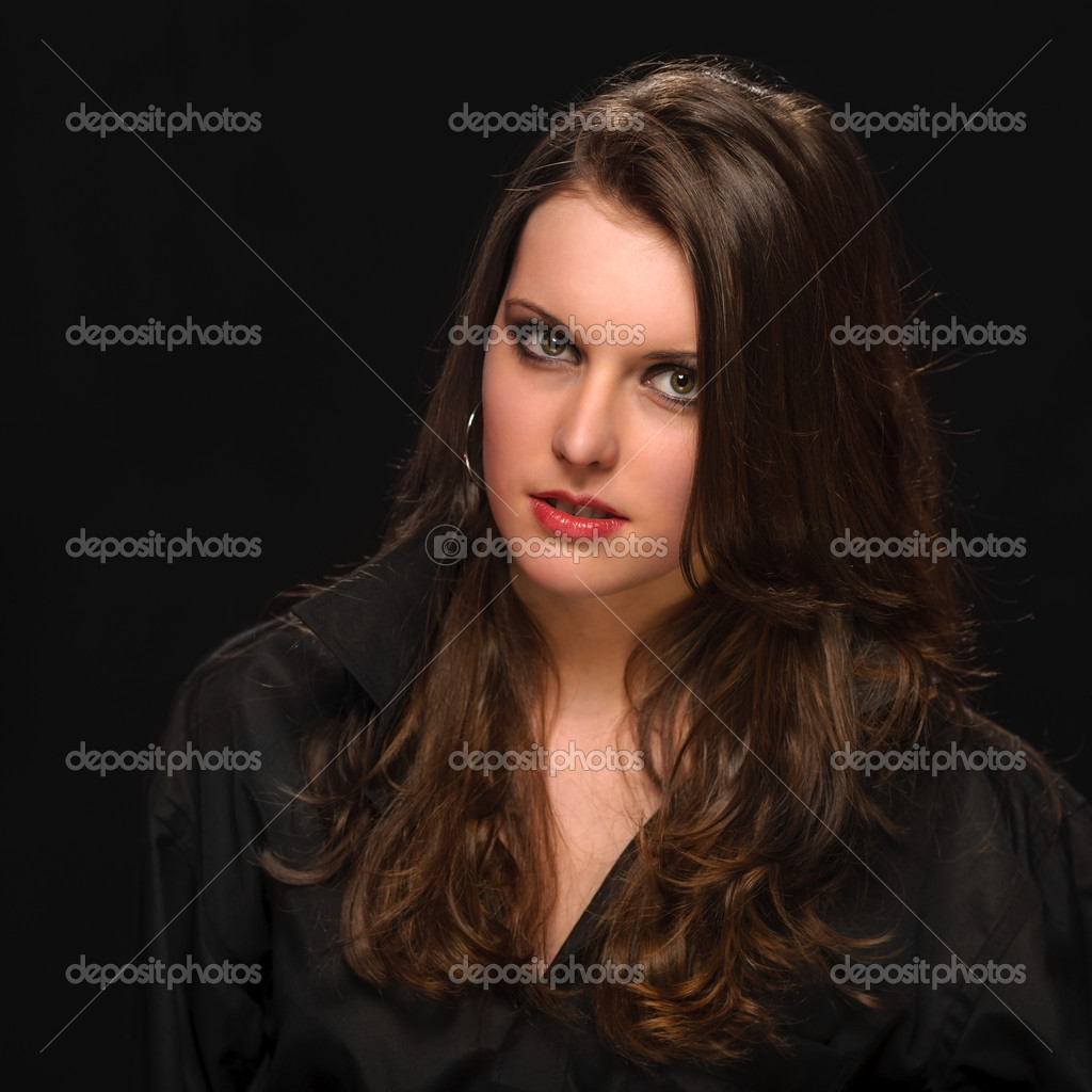 Young woman in black shirt fashion portrait brunette model  Foto Stock #10571107