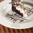 Stock Photo: Sacher cake with whipped cream and chocolate