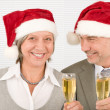 Xmas business toast senior colleagues celebrate — Stock Photo