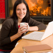 Home living woman with laptop by fireplace - Stock Photo
