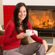 Coffee break woman hot drink at home — Stockfoto