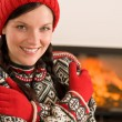 Fireplace winter Xmas young woman wear sweater — Stock Photo