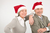 Christmas hat senior businesspeople smile together — Stock Photo