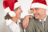Christmas hat senior businesspeople fun laughing — Stock Photo