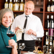 Stock Photo: Wine bar senior woman enjoy wine glass
