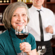 Wine bar senior woman enjoy wine glass — Stock Photo