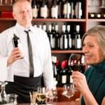 Wine bar senior woman enjoy wine glass — Stock Photo #8529596