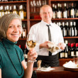 Wine bar senior woman enjoy wine glass — Foto de Stock