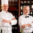 chef cuisinier et maître d'hôtel bar du restaurant vin — Photo