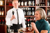 Wine bar senior woman enjoy wine glass — Stock Photo