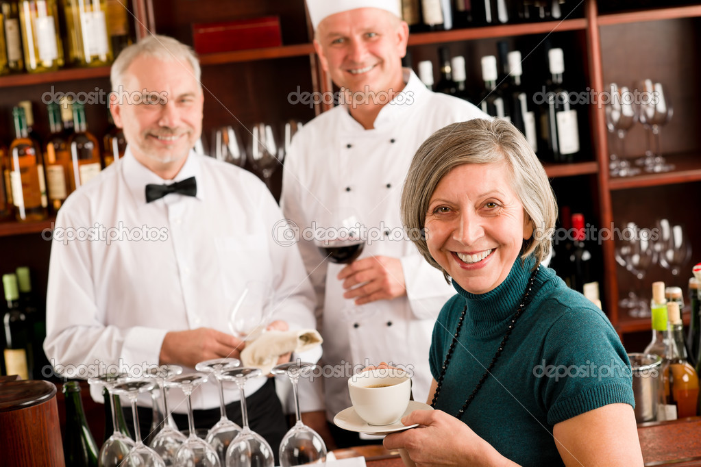Restaurant smiling manager have break with staff wine bar — Foto Stock #8529717