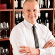 Wine bar waiter happy male in restaurant — Stockfoto