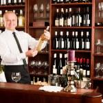 Wine bar waiter happy male in restaurant — Stock Photo #8530279